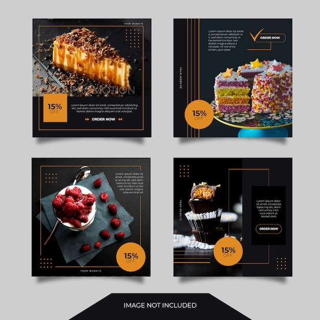 Food culinary social media ads banner post template collection Premium Vector