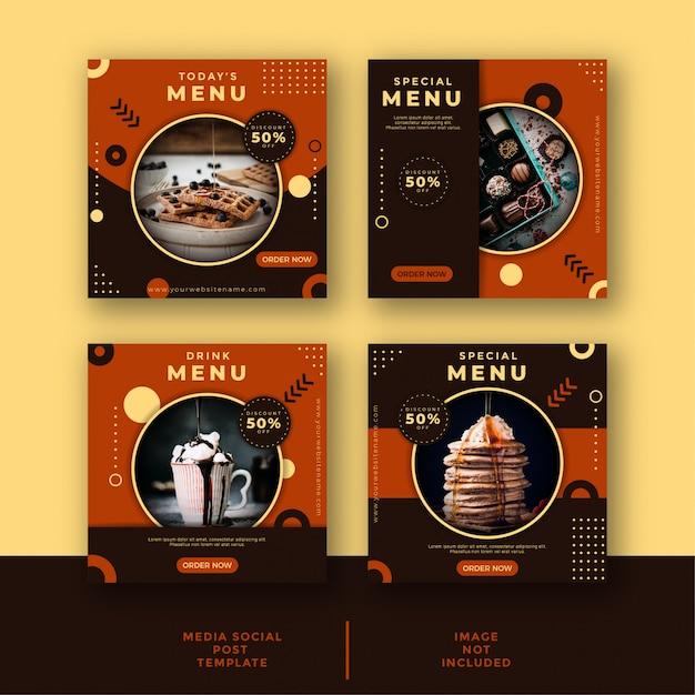 Шаблон для публикации в социальных сетях о еде и кулинарии Premium векторы