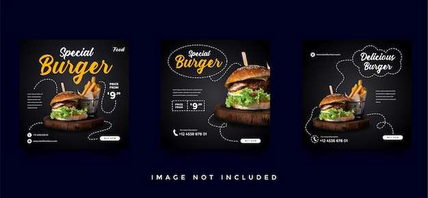 Food and culinary social media promotion template collection Premium Vector