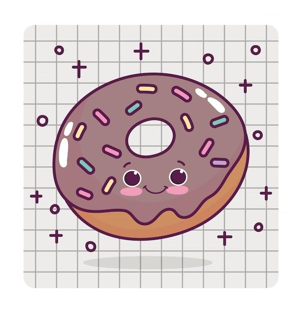 Еда милый шоколад пончик любовь сердце мультфильм Premium векторы