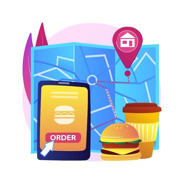Illustrazione di concetto astratto di consegna del cibo. spedizione dei prodotti durante il coronavirus, acquisti sicuri, servizi di autoisolamento, ordine online, soggiorno a casa, allontanamento sociale Vettore gratuito