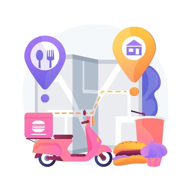 음식 배달 추상적 인 개념 벡터 일러스트입니다. 코로나 바이러스, 안전한 쇼핑,자가 격리 서비스, 온라인 주문, 집에 머무르기, 사회적 거리두기 추상적 인 은유 중 제품 배송. 무료 벡터