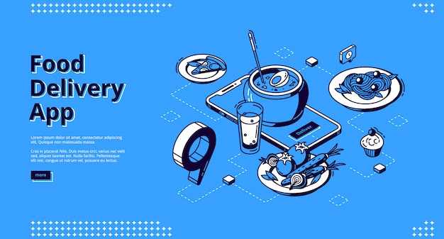 Food delivery app isometric landing page Free Vector