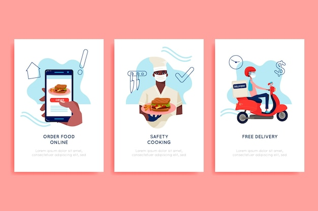 Food delivery app onboarding screens Free Vector