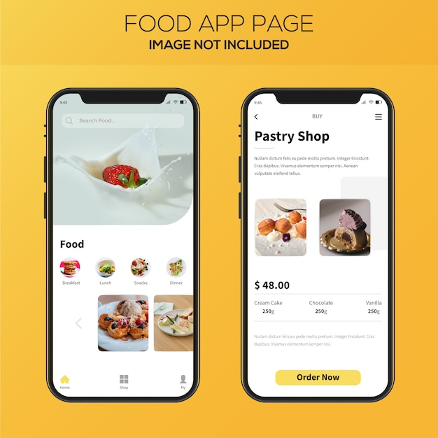 Food delivery app ui design Premium Vector