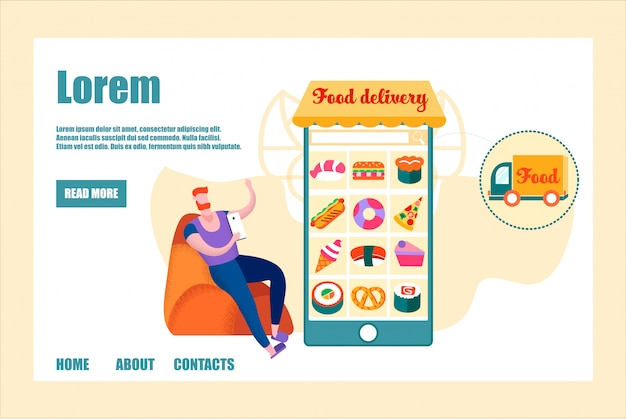 Food delivery banner, man use mobile app to order Vector