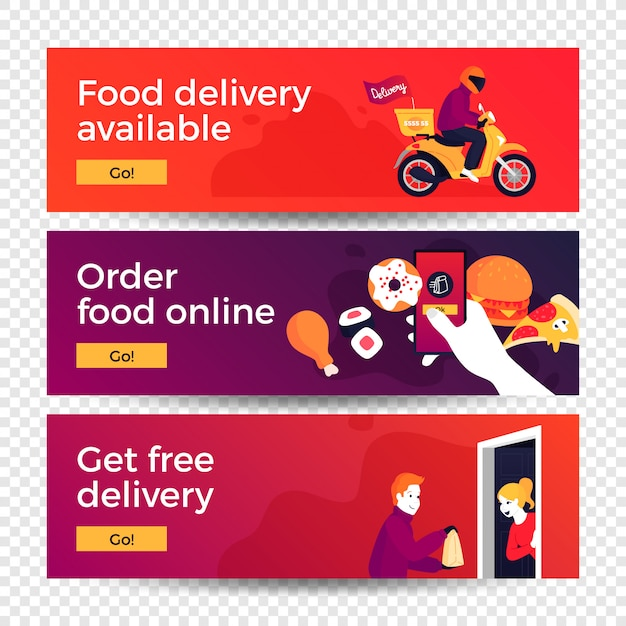 Food delivery concept banners Premium Vector