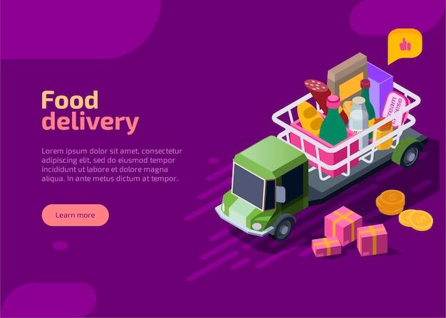 Изометрическая целевая страница доставки еды. Бесплатные векторы