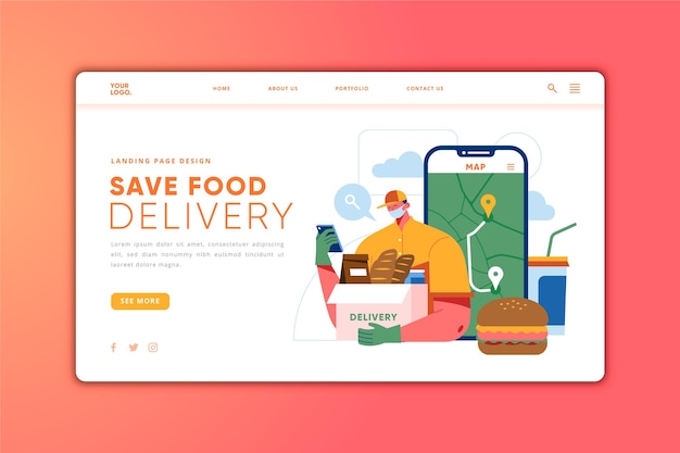 Food delivery landing page template Free Vector