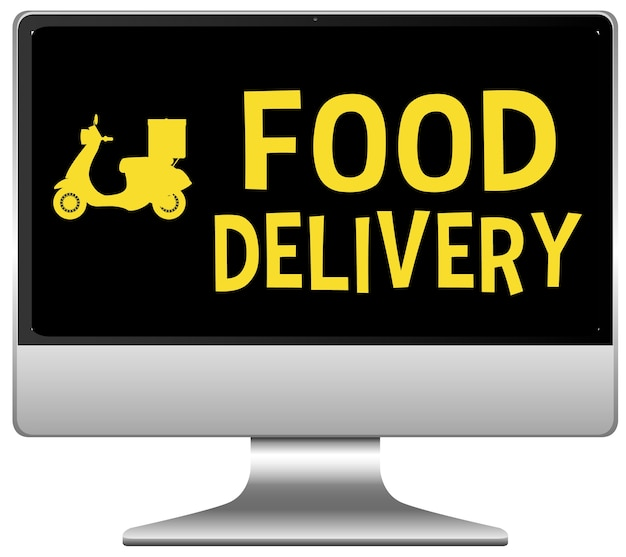 Food delivery logo on computer display Free Vector