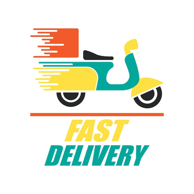 Food delivery logo with motorbike design Premium Vector