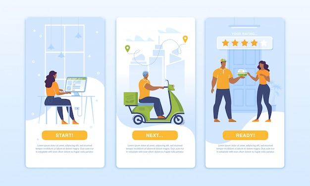 Мобильное приложение для доставки еды homepage ui design set Premium векторы