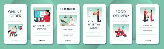 食品配達モバイルアプリケーションバナーセット。オンライン配信。インターネットで注文します。カートに追加し、カードで支払い、原付の宅配便を待ちます。 Premiumベクター