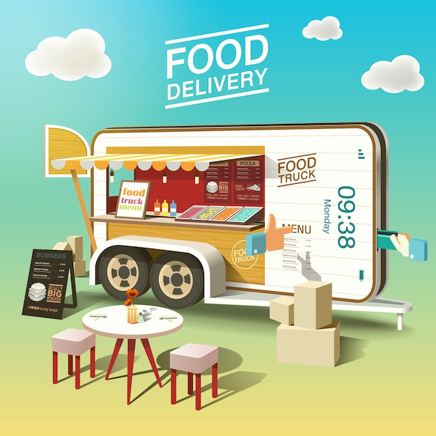 Food delivery mobile phone Premium Vector