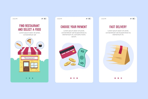 Food delivery  onboard screen Premium Vector