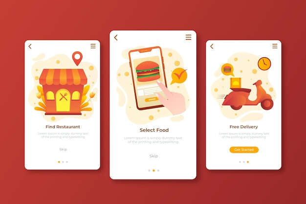 Food delivery - onboarding screens concept Free Vector