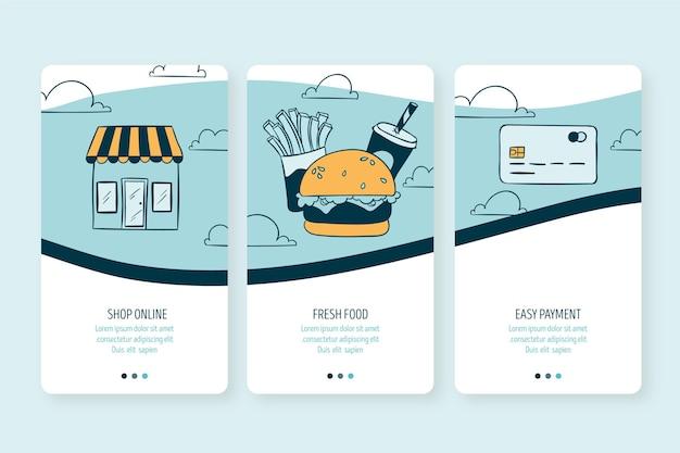 Доставка еды - бортовые экраны Бесплатные векторы
