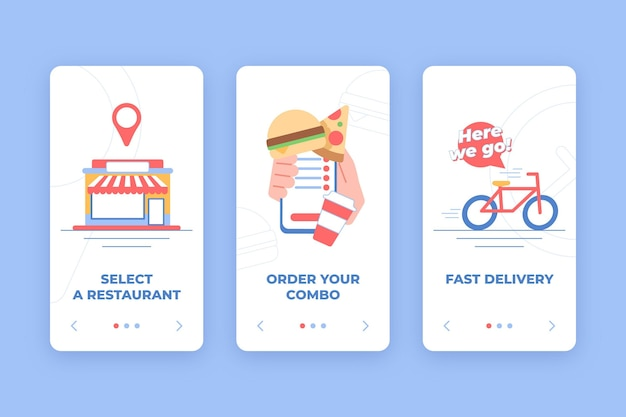 Food delivery - onboarding screens Free Vector