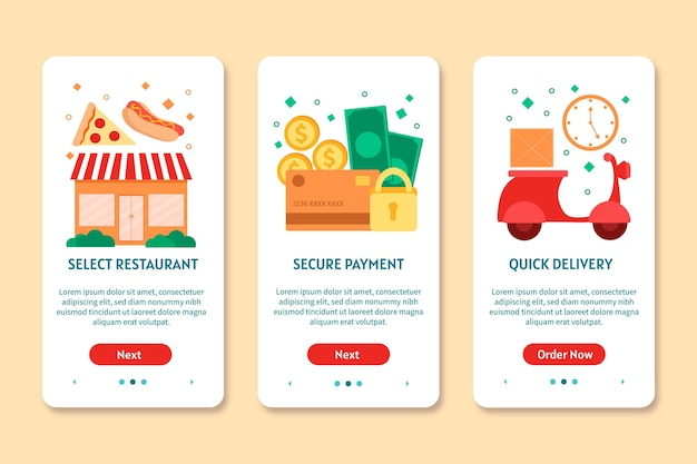 Food delivery onboarding screens Free Vector