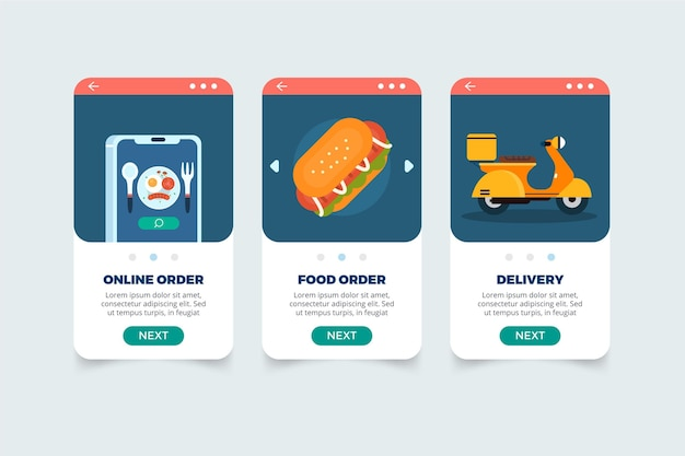 Food delivery onbooard screens concept Free Vector