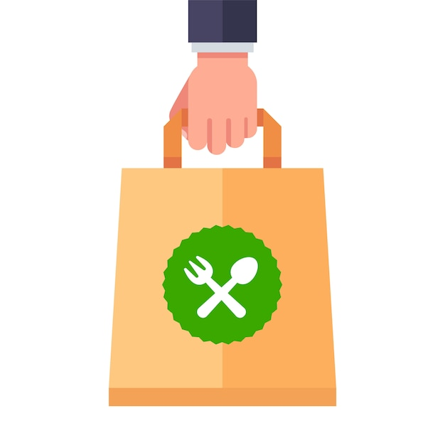 Food delivery in a paper bag. flat   illustration. Premium Vector