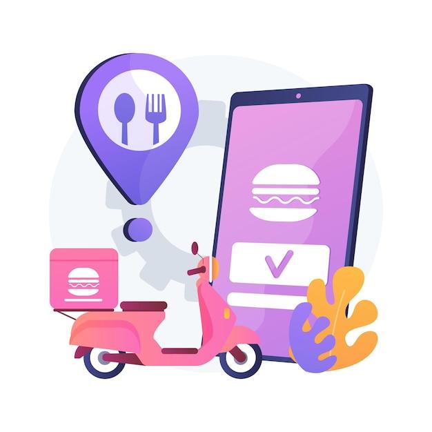 음식 배달 서비스 추상적 인 개념 그림입니다. 온라인 음식 주문, 7 일 24 시간 서비스, 피자 및 스시 온라인 메뉴, 결제 옵션, 무 접점 배송, 앱 다운로드 무료 벡터