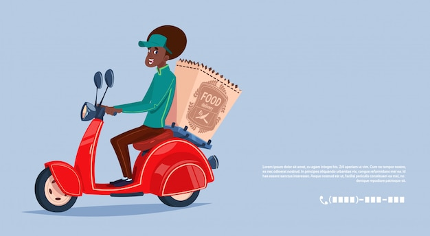 Food delivery service african american courier boy riding motor bike delivering grocery Premium Vector