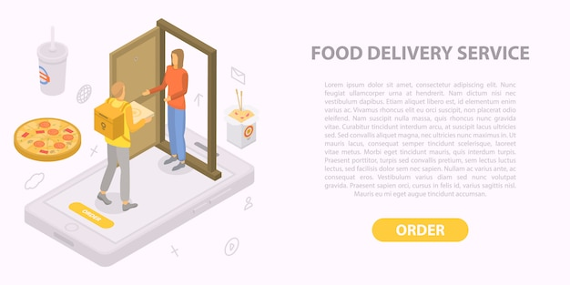 Food delivery service concept banner, isometric style Premium Vector