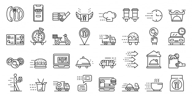 Food delivery service icons set, outline style Premium Vector