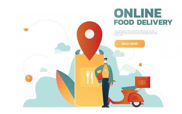 Служба доставки еды. мобильное приложение. молодой курьер-мужчина с большим рюкзаком на мотоцикле. плоские редактируемые иллюстрации, картинки. Premium векторы
