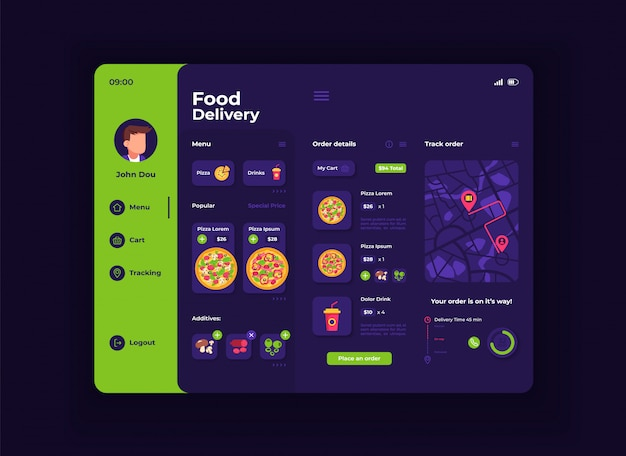 Food delivery tablet interface template. mobile app page night mode design layout. ordering menu screen. flat ui for application. pizza, ingredients and drinks on portable device display Premium Vector