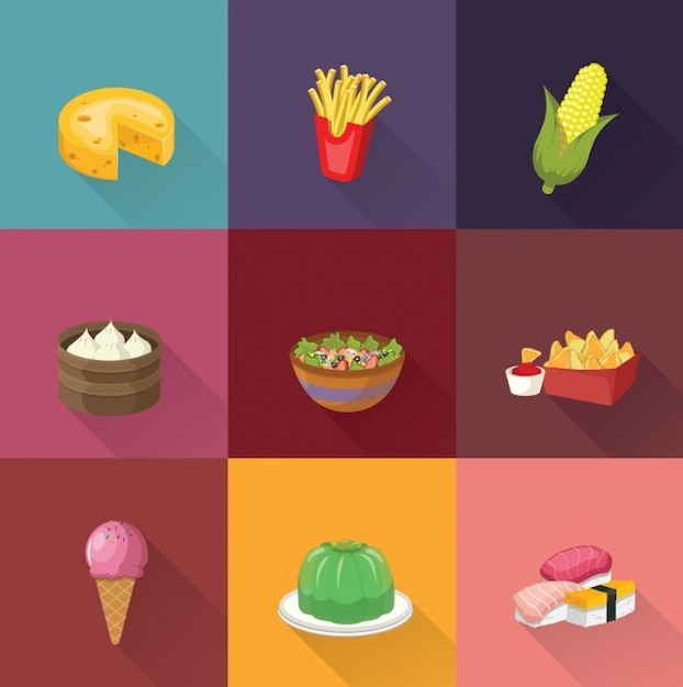 Food designs collection Free Vector