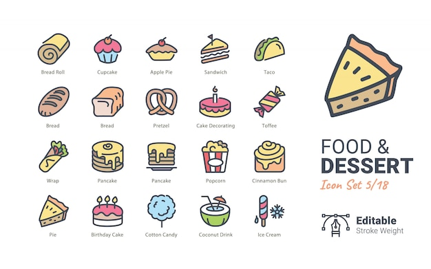 Food & dessert vector icons collection Premium Vector