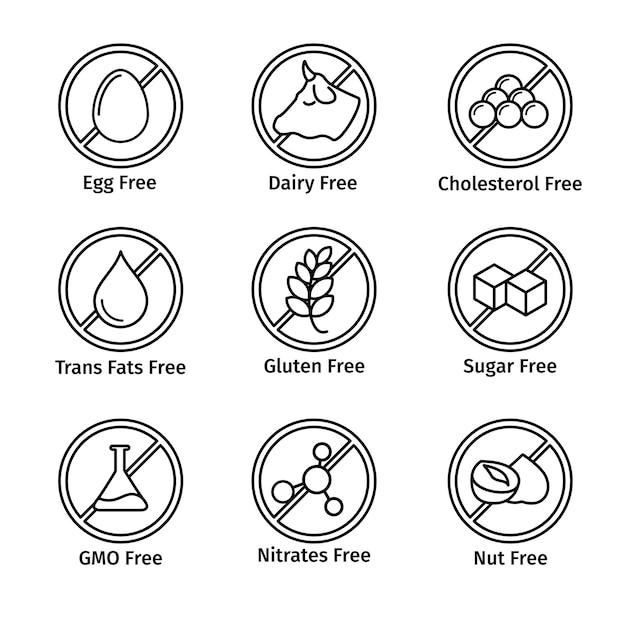 Пищевая диета и этикетка без гмо в стиле линии Бесплатные векторы