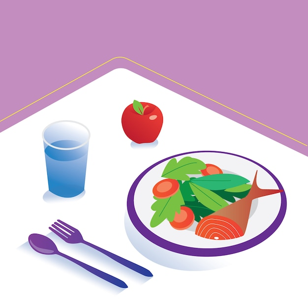 Food and diet meal  isometric nutrition healthy eating and technology concept Premium Vector