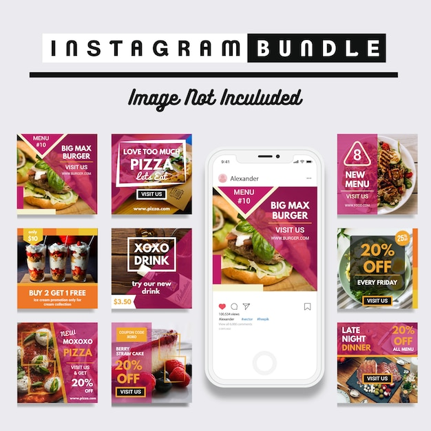 Food discount instagram post template Premium Vector