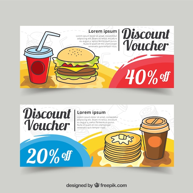 Food Discount Vouchers Design Free Vector Throughout Free Discount Vouchers