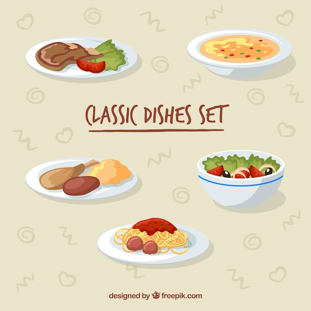 Food dish collection with flat deisgn Free Vector