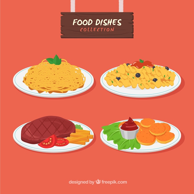 Food dish collection with flat design Free Vector