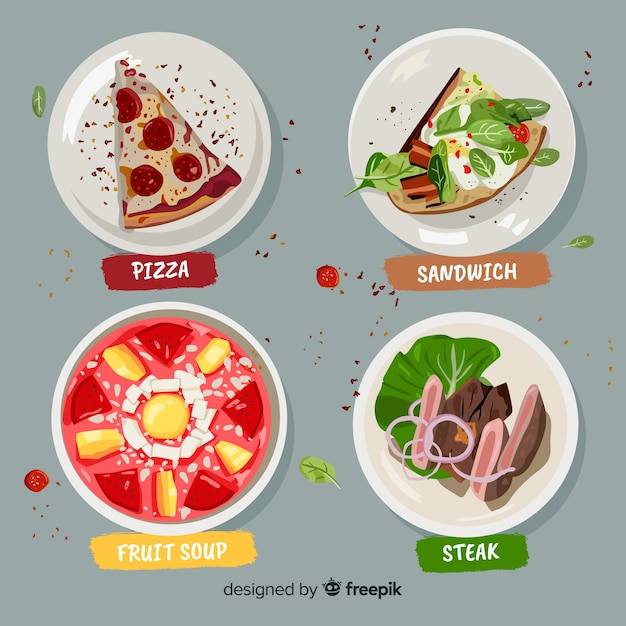 Food dish collection Free Vector