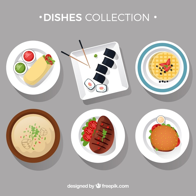Food dishes collection in top view