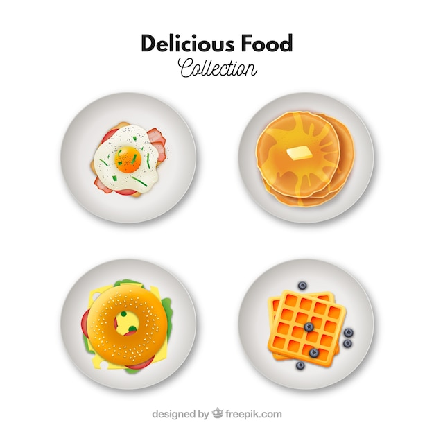 Food dishes collection with breakfast