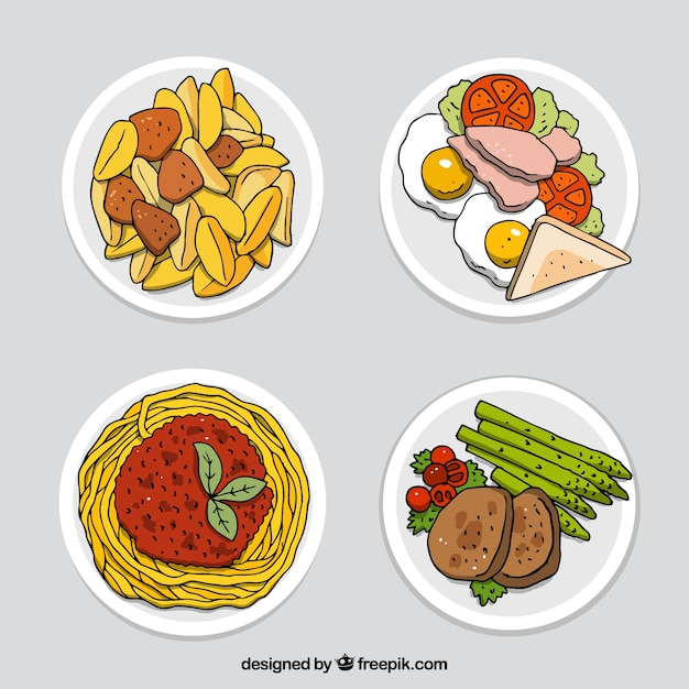 Food dishes collection with top view