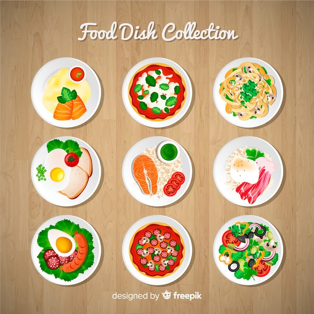 Food dishes set Free Vector