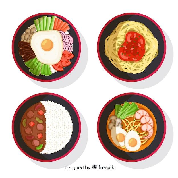 Set di piatti di cibo Vettore gratuito
