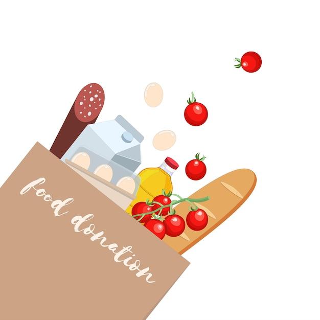 さまざまな製品を使用した食品寄付組成物クラフトバッグ Premiumベクター
