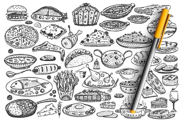 食べ物落書きセット。手描きの様々な種類の食事料理のコレクション Premiumベクター