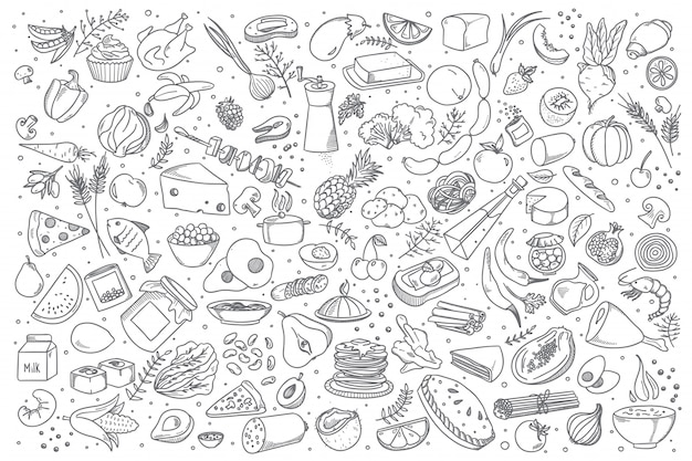 Food doodle set Premium Vector