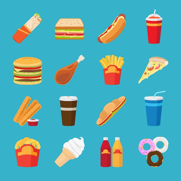 Food and drink flat icons Premium Vector