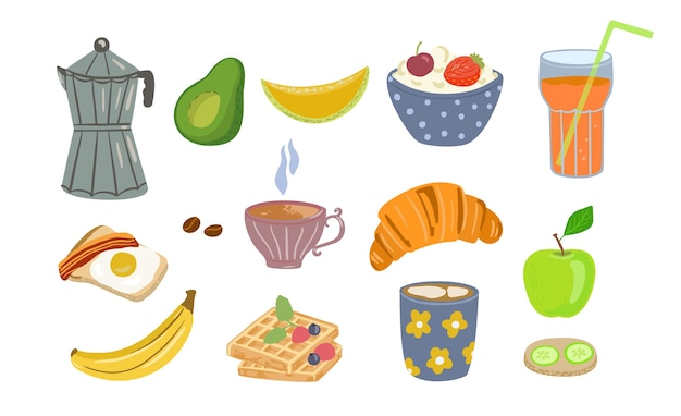 Food and drink icons of healthy breakfast made in cartoon style isolated Premium Vector